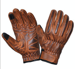 Men#x27;s Distressed Orange Motorcycle Gloves With DuPont™ Kevlar™ lined palm 8176 $27.99