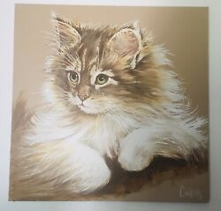 Large Art Masters Studio Persian Cat Oil Painting On Canvas $499.00