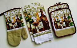 5 Pc Wine Kitchen Linens Dishtowels Ovenmitt Potholders by Kitchen Collection $15.88