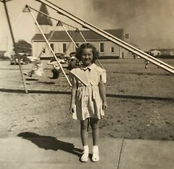 Little Girl On Playground Church Cars Swings 1940's Photograph Picture Vintage $12.50