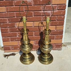 """Vintage Matching Pair of Stiffel Solid Brass Table Lamps 24"""" 2 Lamps $99.00"""