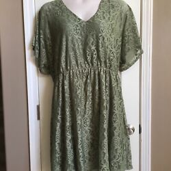 Bailey Blue Green Fancy Lace Party Cocktail Plus Size Dress Women's 3X EUC $21.99