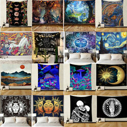 Abstract Bohemian Tapestry Wall Hanging Landscape Cloth Painting Bedroom Decor $13.29