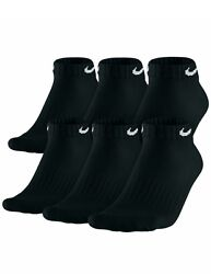 Nike Mens Socks 6 Pack No Show Performance Cushioned DRI FIT Size 8 12 BLACK $27.99