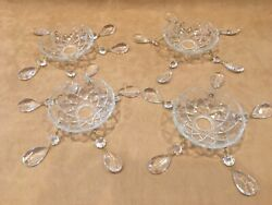 4 VTG Deep BOWL CHANDELIER BOBECHES 4quot; with 5 Prisms Each $48.00