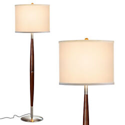 Brightech Lucas Tall Free Standing LED Mid Century Wood Floor Lamp w Drum Shade