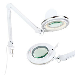 Brightech Lightview Pro LED Adjustable Clamp Dimmable Magnifier Desk Lamp White