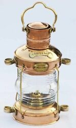 Nautical Brass amp; Copper Polished Anchor Lantern Hanging Lamp Home Decorative $69.00
