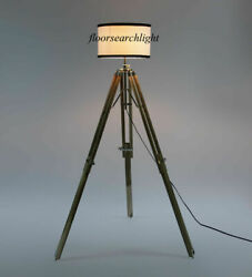 Classical Chrome Floor Shade Lamp Natural Tripod Stand Vintage Collectible $99.00