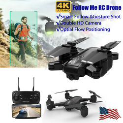 HR WiFi FPV RC Drones with 4K HD Camera Aircraft Quadcopter Follow Me Foldable $64.42