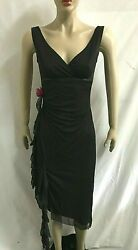 Women#x27;s RUBY ROX Black Evening Cocktail Dress Asymmetrical Hemline Size Small