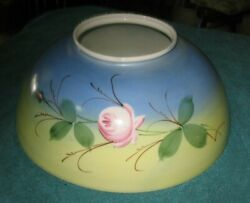 Antique Light Fixture Parlor Blue Yellow Glass Lamp Shade Pretty Pink Flower f $89.50