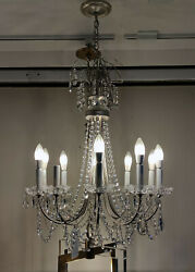 Schonbek Lucia 10 Light Antique Silver Chandelier with Heritage Crystals $850.00
