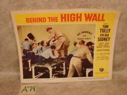 A74G VINTAGE 1956 MOVIE LOBBY CARD BEHIND THE HIGH WALL DINING ROOM FIGHT SCENE $11.99