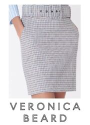 VERONICA BEARD Melissa Skirt Beige Blue SIZE 8 Houndstooth w Belt NWT $395 $170.00