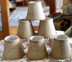 6 Burlap Chandelier Empire Country 5quot; Lamp Shades SAYBROOK CT COUNTRY BARN Nwot $29.99