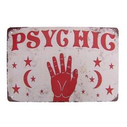 Vintage Metal Psychic Hand Palm Reading Wall Sign Tin Plaque Witchy Room Decor $11.98
