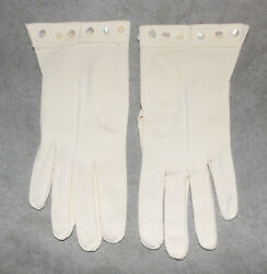 Vintage Ladies Dress Gloves Pale Yellow Nylon Tiny Buttons at Cuff $7.75