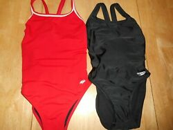 Lot Of 2 Womens Speedo Dolfin Competition Training Swimsuits Size 30 Red Black $15.29