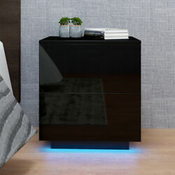 Modern Bedside Table Nightstand with 2 Storage Drawers Bedroom Cabinet w RGB LED $81.99