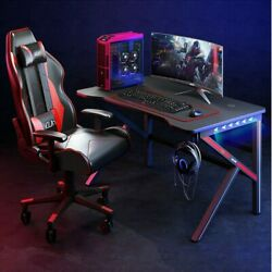 47quot; Gaming Desk Home Office PC Table Computer Desk w LED Lights amp; Headphone Hook $126.99