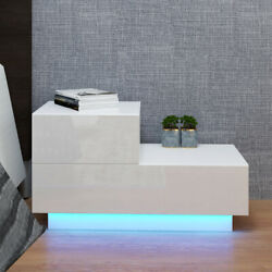 High Gloss 2 Drawers Nightstand Bedroom Bedside Table w RGB LED Light White $83.99