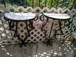 VTG WROUGHT IRON AND MARBLE TOP CONSOLE TABLE Pair Inside or Out heavy Iron $650.00