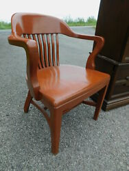 c1949 Antique Office Manager#x27;s Banker Jury Windsor Desk Arm Chair by BL Marble $349.00