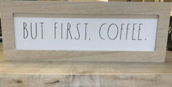 Rae Dunn BUT FIRST COFFEE 14quot;x 5quot; x 2quot; Wooden Sign Rustic Home Decor NEW $29.99
