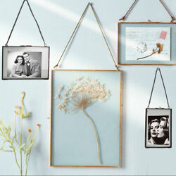 Hanging Antique Glass Metal Picture Photo Frame Portrait Dried Plant Preserver $7.61