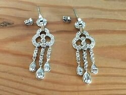 CHANDELIER EARRINGS Sterling Silver Round and Pear Shaped Cubic Zirconias $25.95