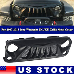 Front Grille Matte Black ABS With Mesh for 2007 2018 Jeep Wrangler JK JKU Cover $135.99