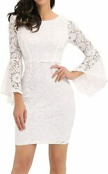 Noctflos Long Sleeve Lace Cocktail Dresses for Women Party Wedding $66.98