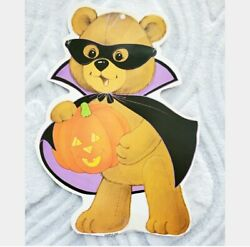 Vintage 90s Halloween Bear Cutout Hanging Decoration by Eureka Double Sided $10.25