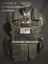 Tactical Vest Plate carrier Black w 2 Curved 8x10 Plates amp; Pouches Included $250.00