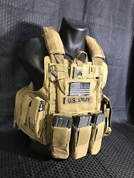 Tactical Vest COYOTE Tan Plate Carrier W 2 8x10 Curved PLATES $240.00