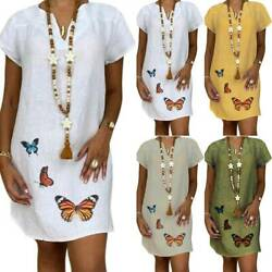 Plus Size Women Short Sleeve Shirt Dress Summer Beach Mini Sun Dresses Long Tops $15.67