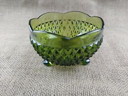 Vintage Indiana Glass Green Footed Bowl Diamond Point Candy Dish $9.99
