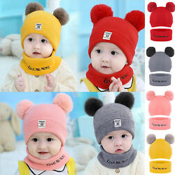 Toddler Kids Girl Boy Baby Winter Warm Hat Scarf Beanie Knit SKull Cover Cap Us $8.79