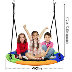 40quot; Tree Swing Round Saucer Swing Set Indoor Outdoor 660lbs for Kids and Adults $38.88