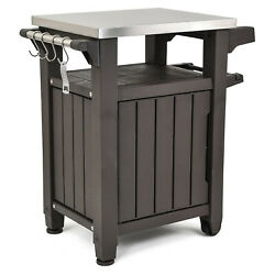 Keter Unity 40 Gal Entertainment Patio Storage BBQ Grilling Bar Cart Furniture $149.99