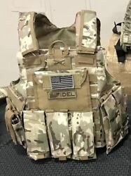 Multicam Tactical Vest Plate Carrier With Plates 2 10x12 curved Plates $284.00