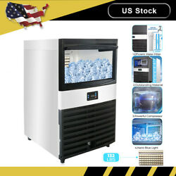 Number button Commercial Ice Maker 120LBS 24H with 45lbs Storage Stainless Steel