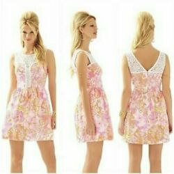 Lilly Pulitzer Reagan Fit and Flare Dress Happiness Is Print Pink Summer Size 2 $49.00