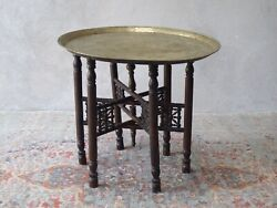 Middle Eastern Antique Table with Brass Tray Hand Carved Folding Base GBP 125.00