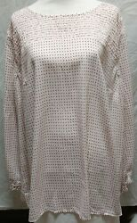 Loft Plus Women#x27;s Long Sleeve Plus Size 24 Top Off White with Pink Black Flowers $18.75