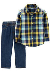 ✅Carter#x27;s Toddler Boys 2 Piece Cotton Plaid Shirt and Jeans Set NWT 3T $17.99