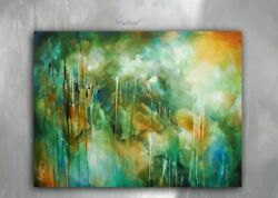 Large Abstract Painting 36 x 48 Mix Lang Art Contemporary DECOR Original Green $1289.00
