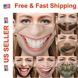 Funny Face Mask Cover Smiley Face Novel Design with Nose Wire 3D Print Washable $8.99