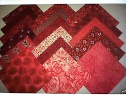 RED Shades Cotton Quilting Squares Charms Blocks $6.99
